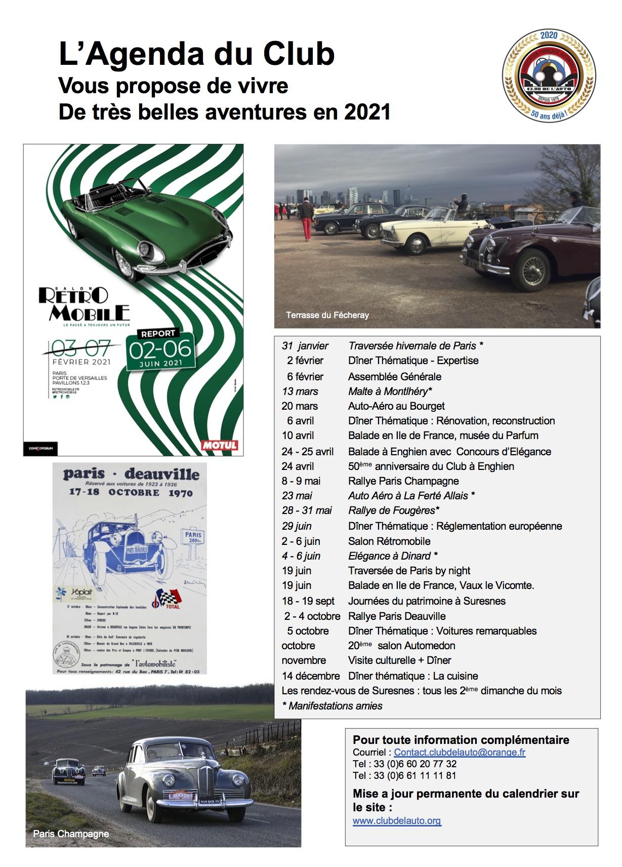 Agenda du club de l'auto 2021